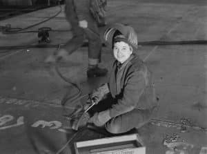 Female welder at Kaiser Shipyards